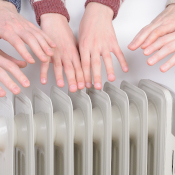Hands over radiator