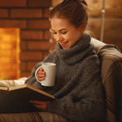 Reading book in warm house